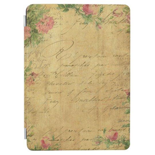 rustic,Parchement,worn,floral,letters,vintage,vict iPad Air Cover