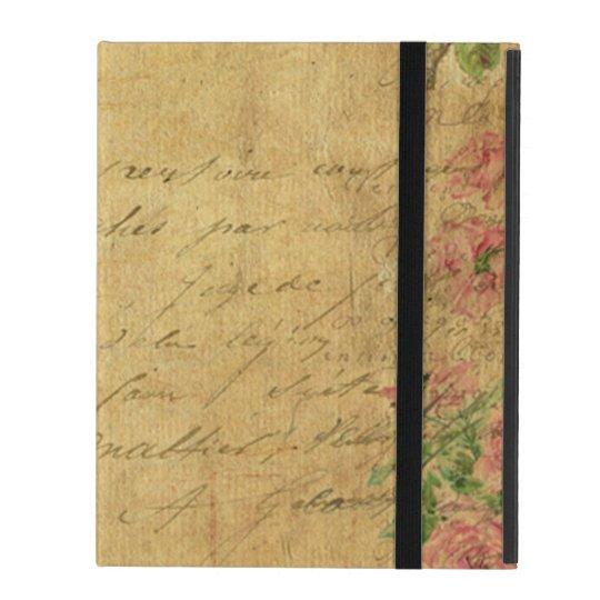 rustic,Parchement,worn,floral,letters,vintage,vict iPad Cover