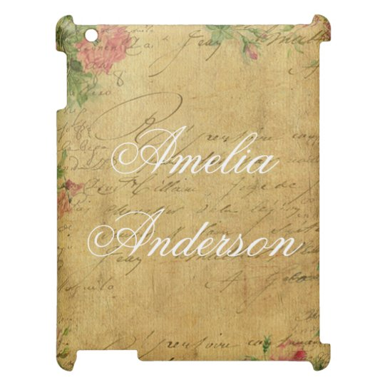 rustic,Parchement,worn,floral,letters,vintage,vict iPad Covers