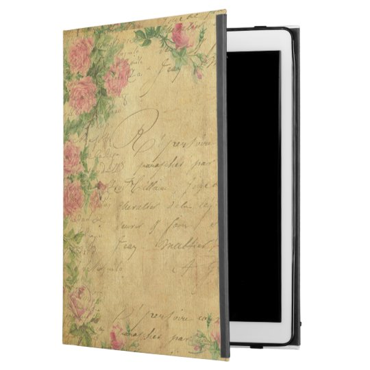 "rustic,Parchement,worn,floral,letters,vintage,vict iPad Pro 12.9"" Case"