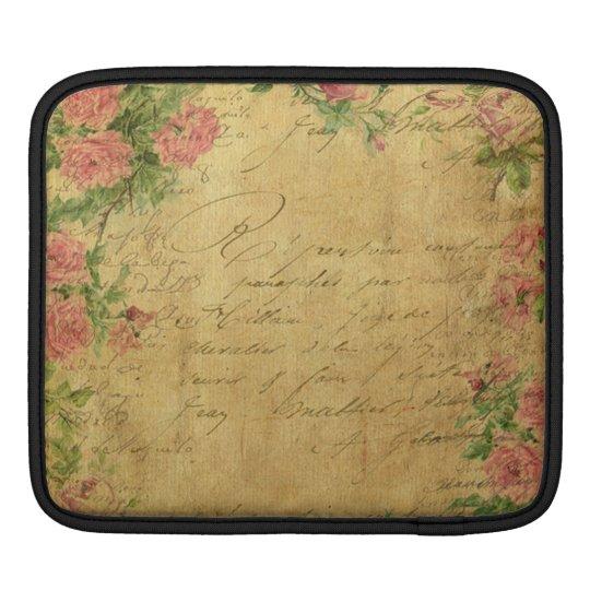 rustic,Parchement,worn,floral,letters,vintage,vict iPad Sleeve