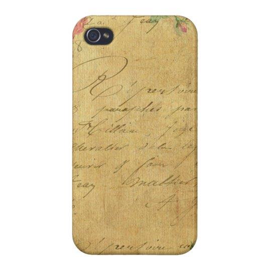 rustic,Parchement,worn,floral,letters,vintage,vict iPhone 4 Cover