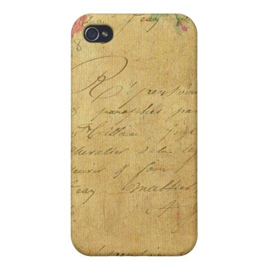 rustic,Parchement,worn,floral,letters,vintage,vict iPhone 4 Covers