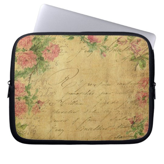 rustic,Parchement,worn,floral,letters,vintage,vict Laptop Sleeve