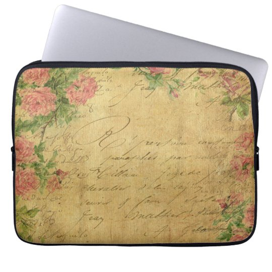 rustic,Parchement,worn,floral,letters,vintage,vict Laptop Sleeve