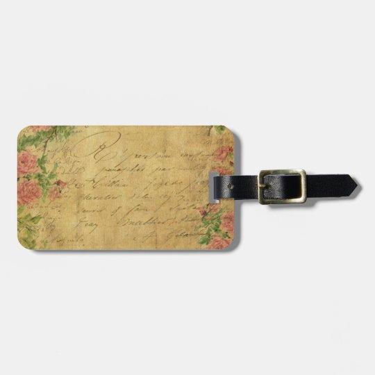 rustic,Parchement,worn,floral,letters,vintage,vict Luggage Tag
