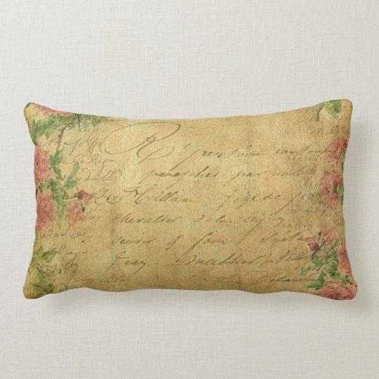 rustic,Parchement,worn,floral,letters,vintage,vict Lumbar Pillow