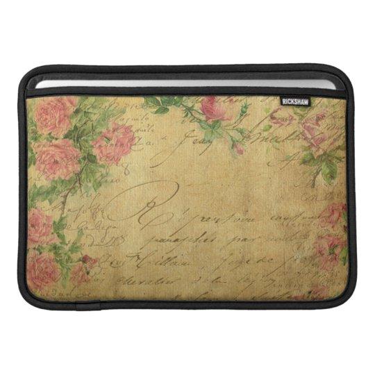 rustic,Parchement,worn,floral,letters,vintage,vict MacBook Sleeve