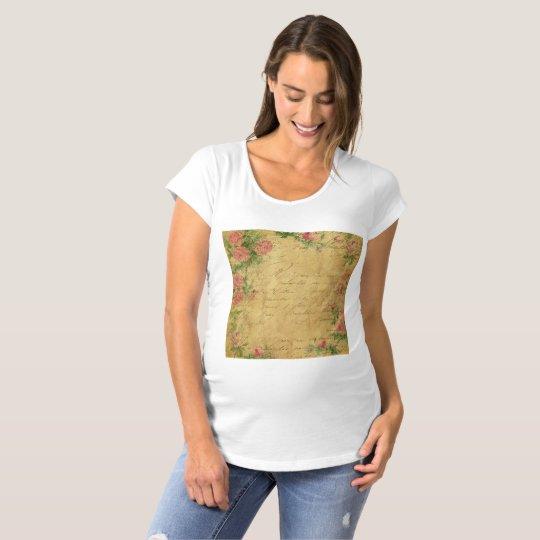 rustic,Parchement,worn,floral,letters,vintage,vict Maternity T-Shirt