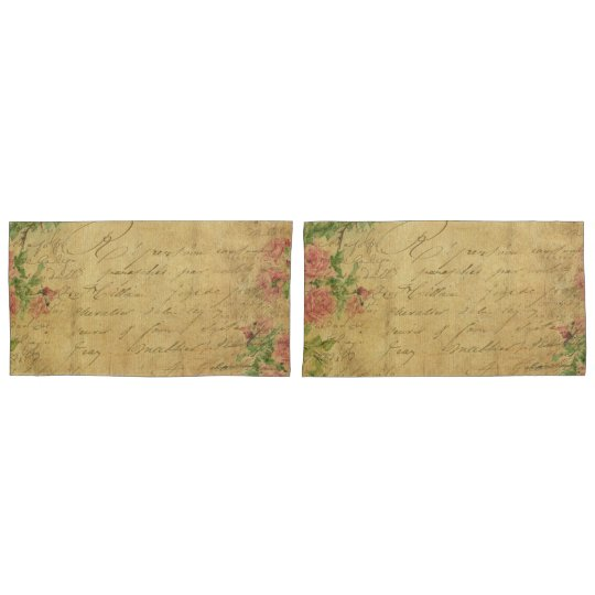 rustic,Parchement,worn,floral,letters,vintage,vict Pillowcase