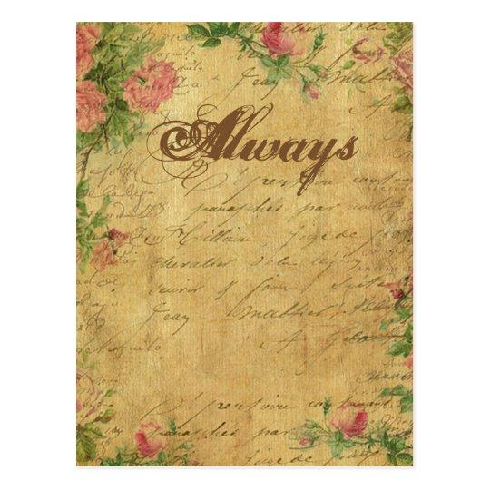 rustic,Parchement,worn,floral,letters,vintage,vict Postcard