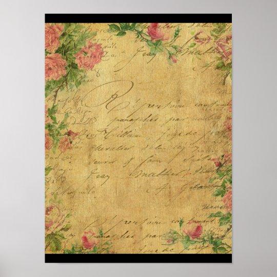 rustic,Parchement,worn,floral,letters,vintage,vict Poster