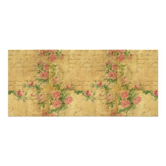 rustic,Parchement,worn,floral,letters,vintage,vict Rack Card