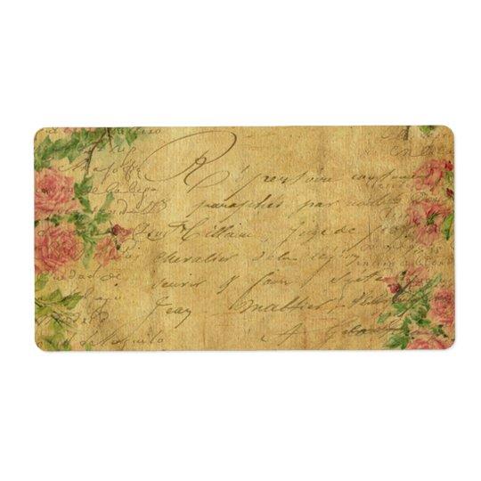 rustic,Parchement,worn,floral,letters,vintage,vict Shipping Label