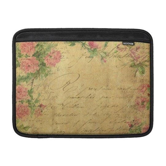 rustic,Parchement,worn,floral,letters,vintage,vict Sleeve For MacBook Air