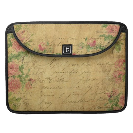 rustic,Parchement,worn,floral,letters,vintage,vict Sleeve For MacBooks