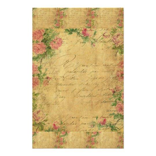 rustic,Parchement,worn,floral,letters,vintage,vict Stationery