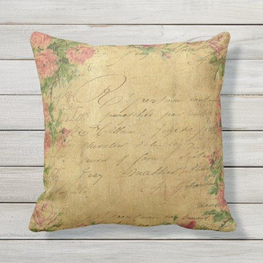 rustic,Parchement,worn,floral,letters,vintage,vict Throw Pillow