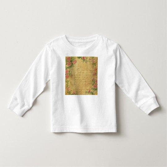 rustic,Parchement,worn,floral,letters,vintage,vict Toddler T-shirt