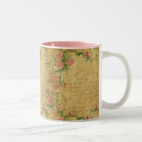 rustic,Parchement,worn,floral,letters,vintage,vict Two-Tone Coffee Mug