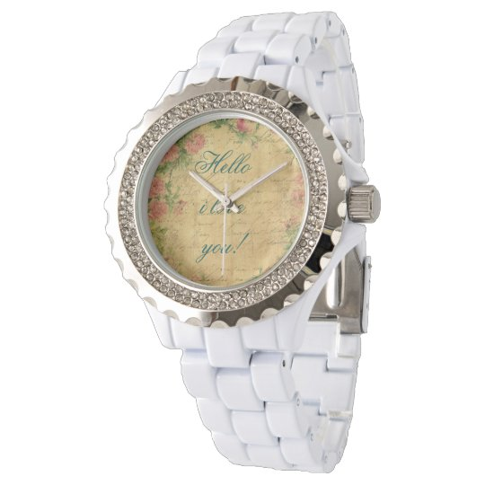 rustic,Parchement,worn,floral,letters,vintage,vict Watch