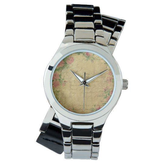 rustic,Parchement,worn,floral,letters,vintage,vict Watch