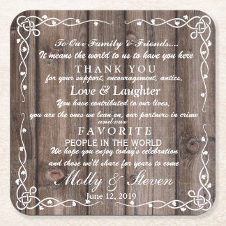 Rustic  party/wedding Thank you Square Paper Coaster