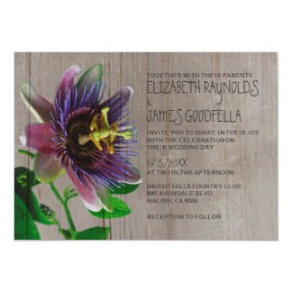 Rustic Passion Flowers Wedding Invitations