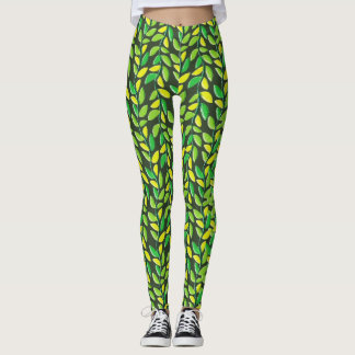 Rustic Pastel Leaves Pattern Leggings