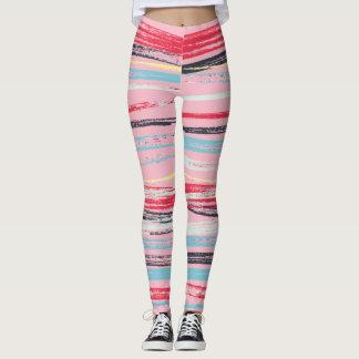 Rustic Pastel Strokes Horizontal Leggings