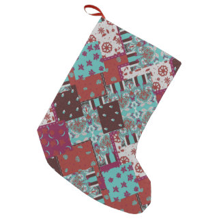 Rustic patchwork paisley pattern small christmas stocking