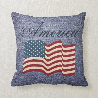 Rustic Patriotic American Flag Throw Pillow Gift
