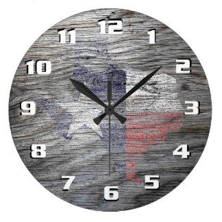 Rustic Patriotic Texas Flag on wood texture Large Clock