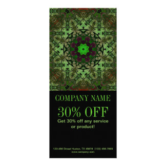 rustic pattern abstract business green damask full color rack card