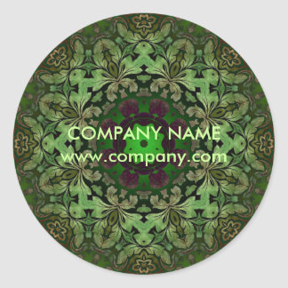 rustic pattern abstract business green damask round sticker