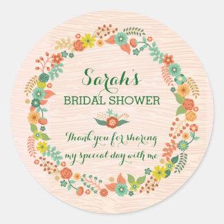 Rustic Peach Floral Wreath Bridal Wedding Shower Sticker
