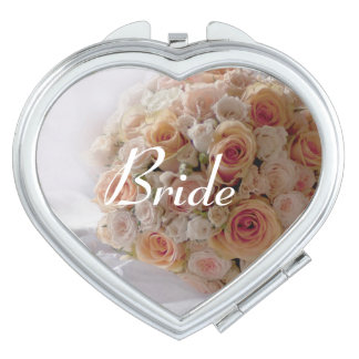 Rustic Peach Rose White Bride Wedding Gift Mirror For Makeup