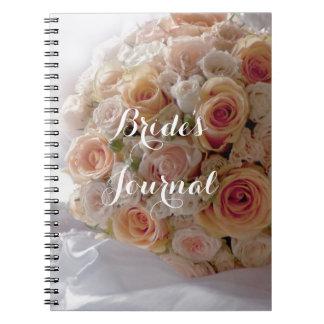 Rustic Peach Rose White Brides Wedding Journal