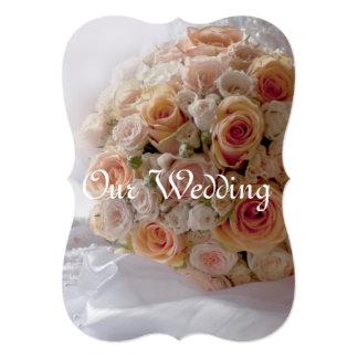 Rustic Peach Roses White Wedding Card