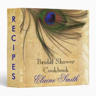 Rustic Peacock Feather Recipe Folder 3 Ring Binders