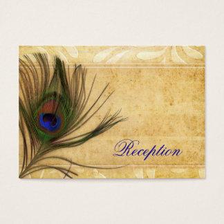 Rustic Peacock Feather wedding reception invite