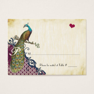 Rustic Peacock Navy Raspberry Damask Place Cards
