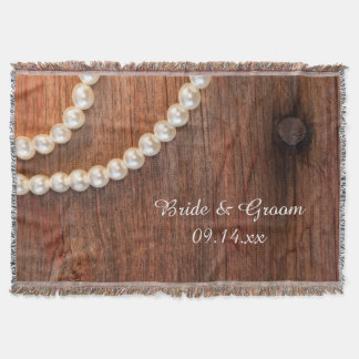 Rustic Pearls and Barn Wood Country Wedding Throw Blanket