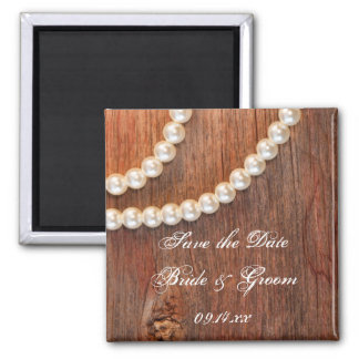 Rustic Pearls and Barn Wood Wedding Save the Date Magnet