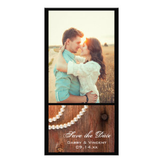 Rustic Pearls Country Barn Wedding Save the Date Photo Card Template