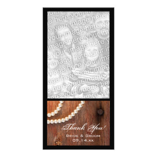 Rustic Pearls Country Barn Wedding Thank You Photo Greeting Card