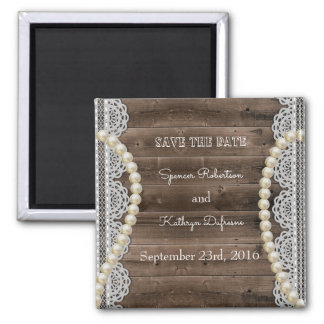 "Rustic Pearls & Lace ""Save the Date"" Wedding Magnet"