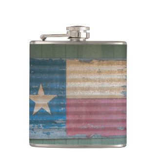 Rustic Peeling Lone Star Texas Flag Hip Flask