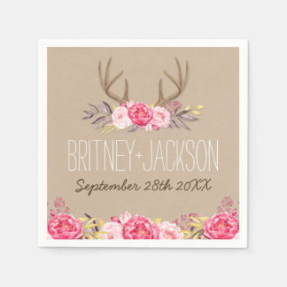 Rustic Peony and Deer Antler Wedding Napkins Disposable Napkin