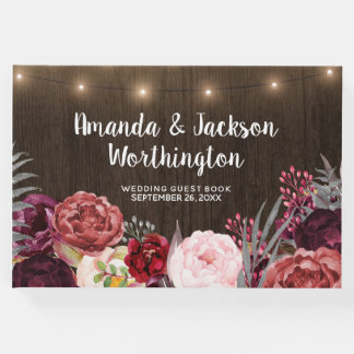 Rustic Peony Country Fall Wood Wedding Guest Book